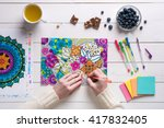 flat lay  female coloring adult ... | Shutterstock . vector #417832405