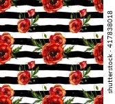 watercolor poppies seamless... | Shutterstock . vector #417838018