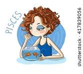 zodiac signs pisces. vector... | Shutterstock .eps vector #417839056