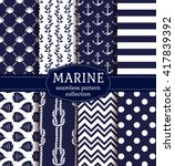 Set of marine and nautical backgrounds in navy blue and white colors. Sea theme. Elegant seamless patterns. Vector collection.  - stock vector