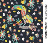 seamless pattern with bird and... | Shutterstock .eps vector #417840682