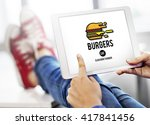 burgers online buying junk food ... | Shutterstock . vector #417841456