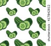 cucumber seamless pettern.   Shutterstock .eps vector #417842812