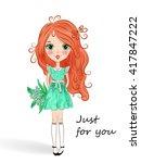 little beautiful cute red...   Shutterstock .eps vector #417847222