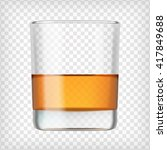 glass of scotch whiskey. shot... | Shutterstock .eps vector #417849688