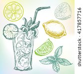 hand drawn mojito cocktail set... | Shutterstock .eps vector #417857716