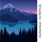 Vector Evening Lake In Mountains