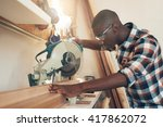 african artisan working with a... | Shutterstock . vector #417862072