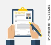 resume form in hands. clipboard ...   Shutterstock .eps vector #417865288