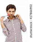 close up portrait of handsome... | Shutterstock . vector #417866902
