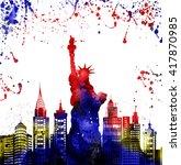 silhouette new york city  ... | Shutterstock . vector #417870985