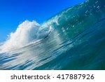 shorebreak surfing tube wave.... | Shutterstock . vector #417887926