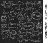 baby icons hand drawn doodle... | Shutterstock .eps vector #417894388