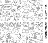 baby icons hand drawn doodle... | Shutterstock .eps vector #417894745