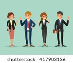 happy business people standing... | Shutterstock .eps vector #417903136