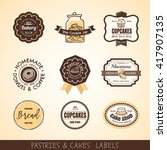 vector set of vintage bakery... | Shutterstock .eps vector #417907135