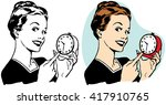 woman pointing at alarm clock | Shutterstock .eps vector #417910765