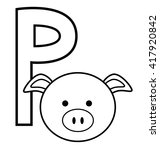 p for pig | Shutterstock .eps vector #417920842