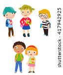 pupils boys and girls | Shutterstock .eps vector #417942925