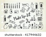 set of make up kit doodle | Shutterstock .eps vector #417944632