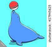 Funny Cartoon Cute Fat Seal...