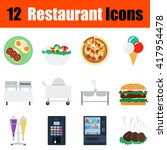 flat design restaurant icon set ...