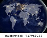 network and world map... | Shutterstock . vector #417969286