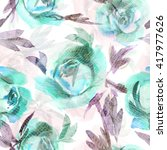 watercolor roses seamless... | Shutterstock . vector #417977626