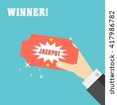 hand holding winner lottery... | Shutterstock .eps vector #417986782