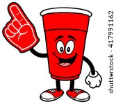 party cup with a foam finger | Shutterstock .eps vector #417991162
