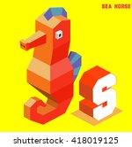 s for sea horse  animal... | Shutterstock .eps vector #418019125