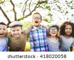 kids fun playful happiness... | Shutterstock . vector #418020058