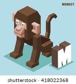 m for monkey. animal alphabet...   Shutterstock .eps vector #418022368