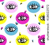 eyes seamless pattern. polygon... | Shutterstock .eps vector #418022572