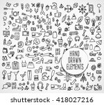 hand drawn icons and elements... | Shutterstock .eps vector #418027216