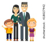 young family   father  mother ... | Shutterstock .eps vector #418027942