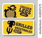 barbecue and grill stickers ... | Shutterstock .eps vector #418029175