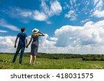 happy couple in summer under...   Shutterstock . vector #418031575