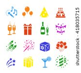 icons set holidays. party ... | Shutterstock . vector #418035715