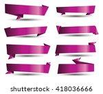 purple banner ribbon vector set | Shutterstock .eps vector #418036666