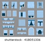 set of curtains  classic french ... | Shutterstock .eps vector #418051336