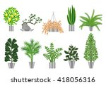 house plants collection. | Shutterstock .eps vector #418056316