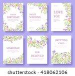 set of flower invitation cards. ... | Shutterstock .eps vector #418062106