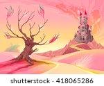 fantasy landscape with castle.... | Shutterstock .eps vector #418065286