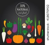 set of vegetables on chalkboard ... | Shutterstock .eps vector #418070932