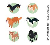 set of isometric icons of... | Shutterstock . vector #418090108