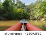 kayaking through lush green... | Shutterstock . vector #418093582