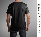 man wearing black t shirt  back ...   Shutterstock . vector #418107292