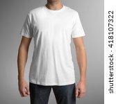man wearing white t shirt...   Shutterstock . vector #418107322
