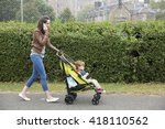 busy mum talking on phone while ... | Shutterstock . vector #418110562